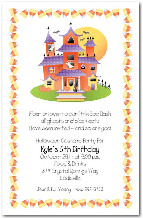 haunted house  candy corn halloween party invitations