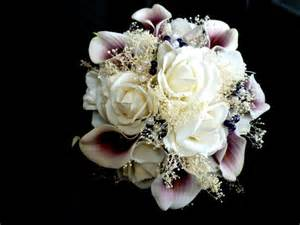 artificial wedding bouquets real touch picasso calla plum purple and white