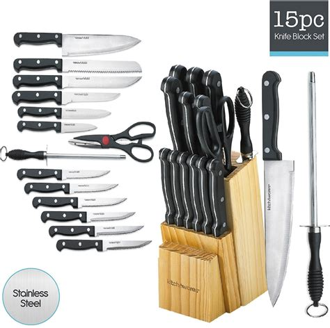 kitchen knife set  piece block stainless steel chef