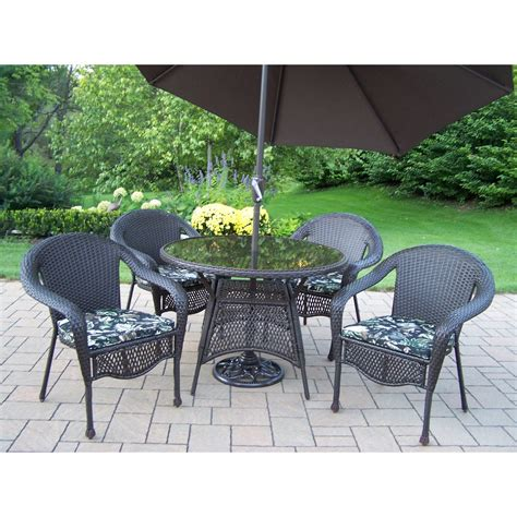 patio set with umbrella oakland living elite all weather wicker patio dining set