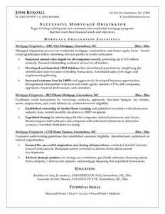 mortgage originator resume templates exle mortgage originator resume free sle