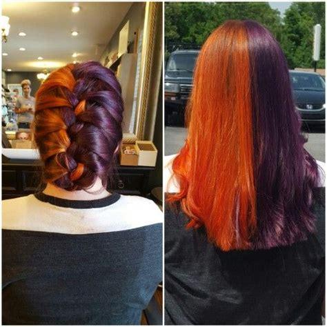 Orange And Purple French Braid Split Dyed Hair Rainbow