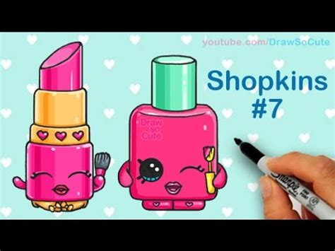 draw shopkins lippy lips  polly polish step