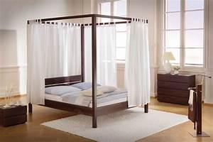 Vorhang über Bett : himmelbett aus holz massiv in 140x200 cm bett almeria ~ Markanthonyermac.com Haus und Dekorationen