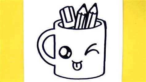 dessin a faire comment dessiner tasse crayons kawaii dessin kawaii et