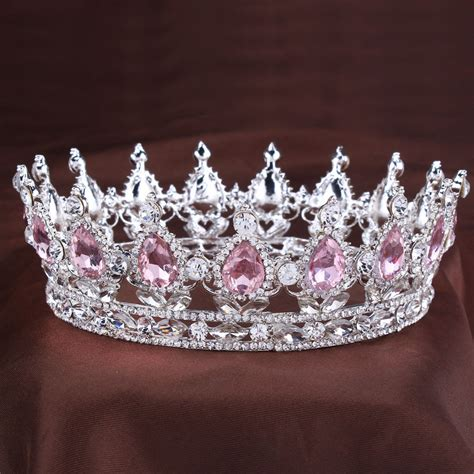 vintage princess tiara pink rhinestone bridal hair