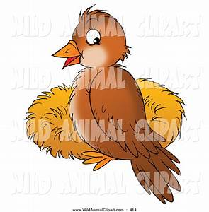 Clip Art of a Cute Brown Bird Perched on the Rim of a Twig ...