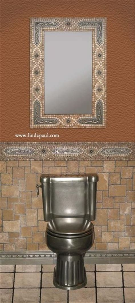 mosaic framed bathroom mirror mosaic tile mirror frame with copper studded brackets