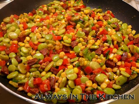 dining room table and dawna in the kitchen chorizo succotash