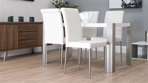white leather dining chairs offering luxury   cool