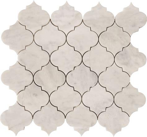 carrara arabesque waterjet mosaics polished marble tile