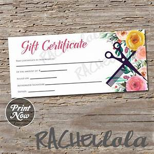 haircut gift certificate template - hair salon watercolor floral printable gift certificate