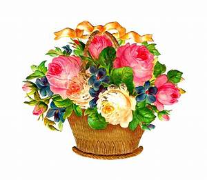 Antique Images: Free Flower Basket Graphic: Pink and White ...