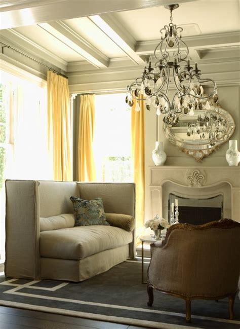 yellow  gray drapes design ideas