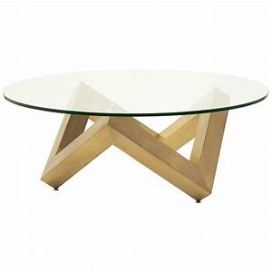 round glass gold triangular base coffee table With round glass coffee table with gold base
