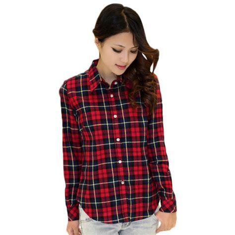 plaid blouse womens plaid check lapel shirt sleeve flannel button