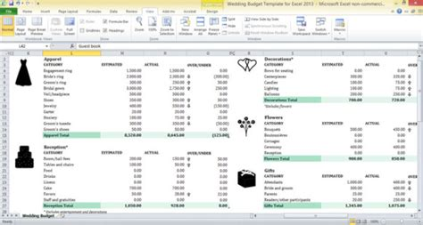 wedding budget template excel wedding budget template for excel 2013