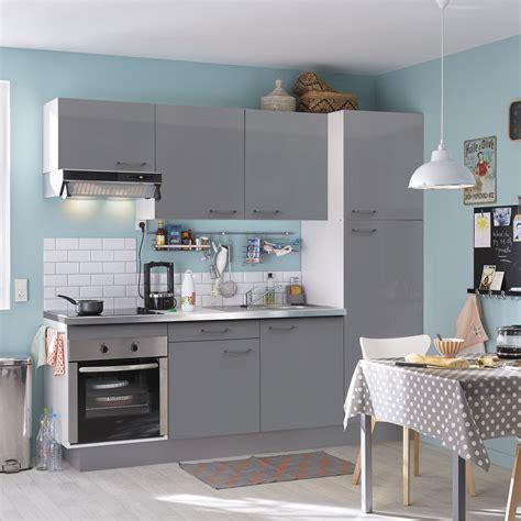 cuisine leroy merlin prix cuisine équipée gris brillant l 240 cm électroménager