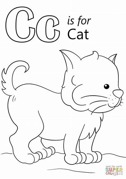 Coloring Letter Cat Pages Printable Worksheets Preschool