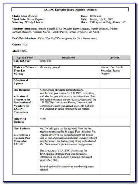 meeting minutes sample docx