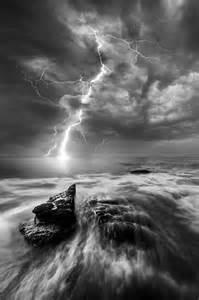 Black and White Lightning Storm Ocean