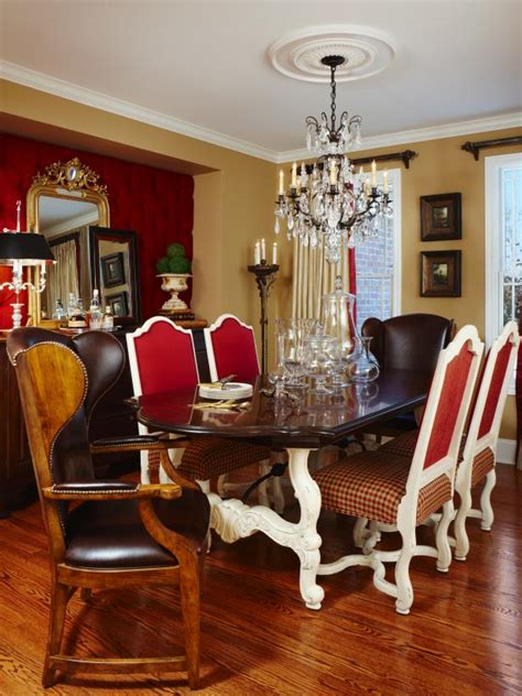 traditional dining room  french influences hgtv