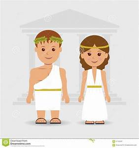 A Man And A Woman In Greek Robes Stock Vector - Image ...