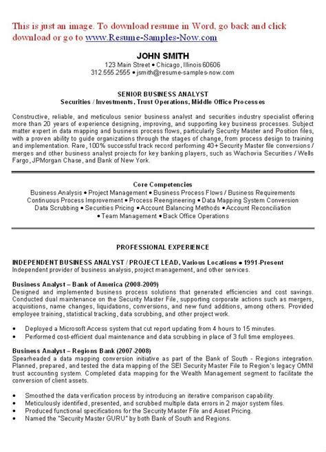 Resume Writing Business by Business Analyst Resume Exles Objectives You To
