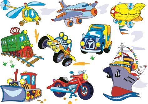 Different Cartoon Transportation Tool Vector 03 Free Download