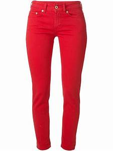 Dondup Skinny Cropped Mid-Rise Stretch-Denim Jeans in Red ...