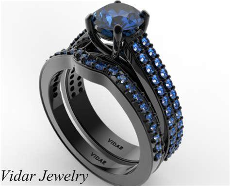 Diamond And Blue Sapphire Wedding Sets