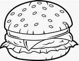 Burger Outline Clipart Outlines Webstockreview Mural Result sketch template