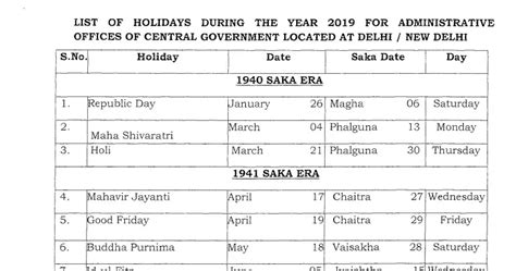 list holidays gazetted leave central government employees