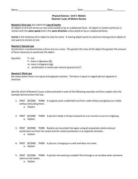 fourth grade science and motion worksheets