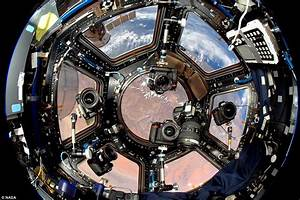 NASA photograph shows interior view of ISS Cupola module ...