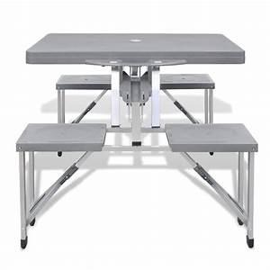 Campingtisch Mit Stühlen : klappbares campingtisch set aluminium mit 4 st hlen extra leicht grau g nstig kaufen ~ Eleganceandgraceweddings.com Haus und Dekorationen