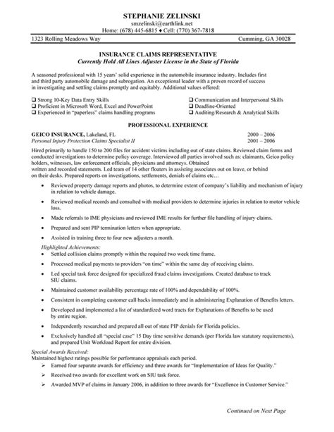 Insurance Company Resume Objective by Insurance Resume Objective Sle Insurance Claims Representative
