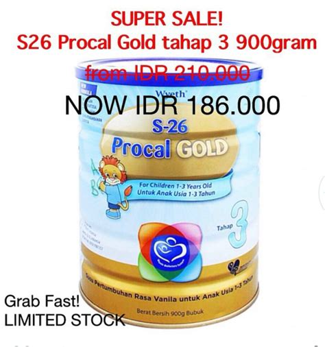 procal s26 promo s26 procal gold tahap 3 900 gr 186rb