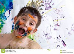 Excited Happy Little Boy Doing Finger Painting Stock Photo ...