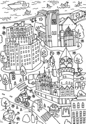western union building  jefferson market library coloring page  printable coloring pages