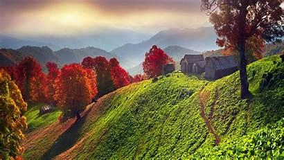 Scenery Autumn Landscape Ukraine Houses Nature Hill