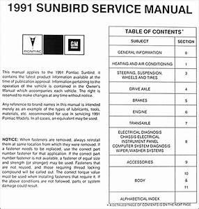 1991 Pontiac Sunbird Repair Shop Manual Original