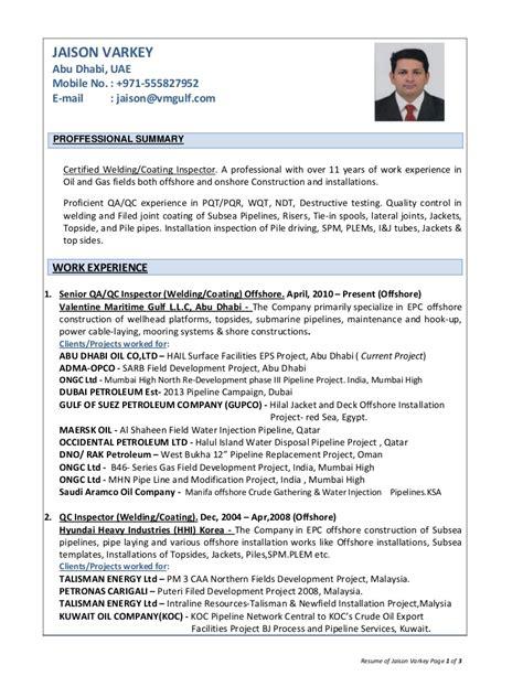 Welding Inspector Cv Sle by Resume Of Jaison Varkey Qa Qc Inspector Welding Coating