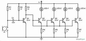 Bc547 Based Led Music Light Circuit Diagram In 2019