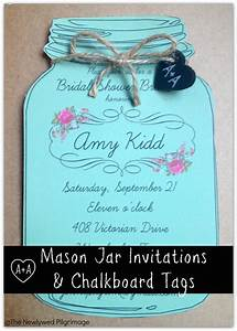 Mason jar invitations and chalkboard tags for weddings or for Free printable mason jar wedding shower invitations