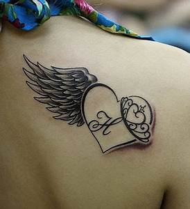 Letters, heart and angel tattoo on shoulder - TattooMagz