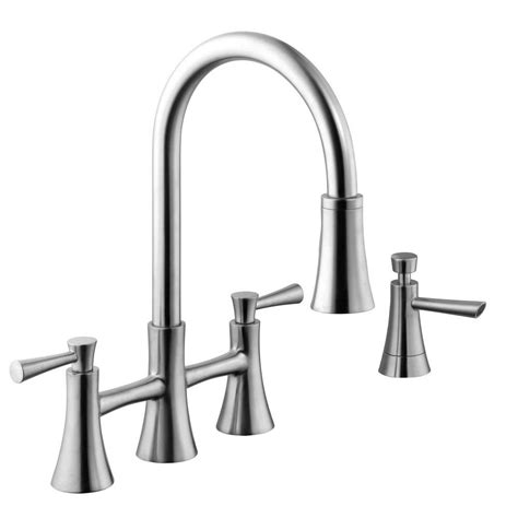 two handle kitchen faucet with pull sprayer
