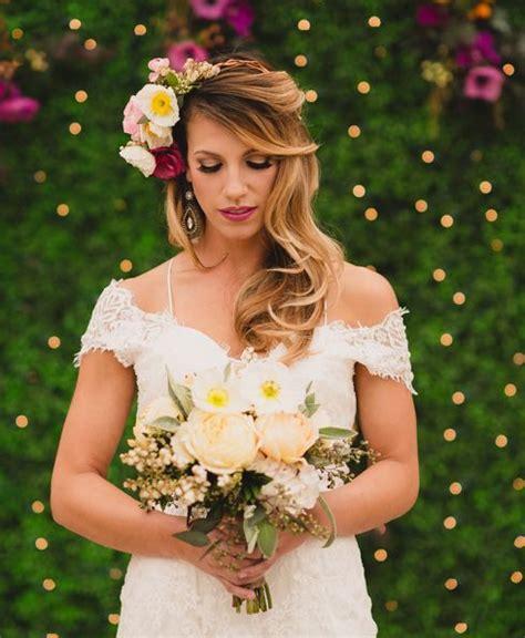 Soft Waves Flower Crown Wedding Hairstyle
