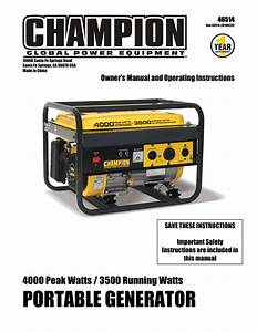 Champion 46514 Owner S Manual