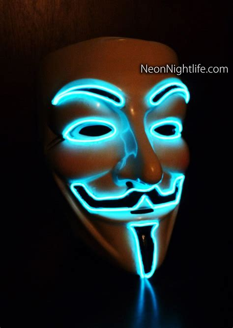 Glowing V For Vendetta, Guy Fawkes Mask, Battery Powered